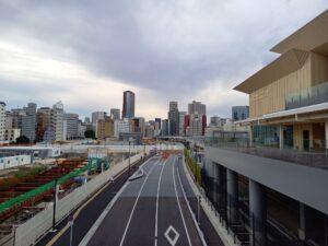 試験後に撮った高輪ゲートウェイ駅からの風景